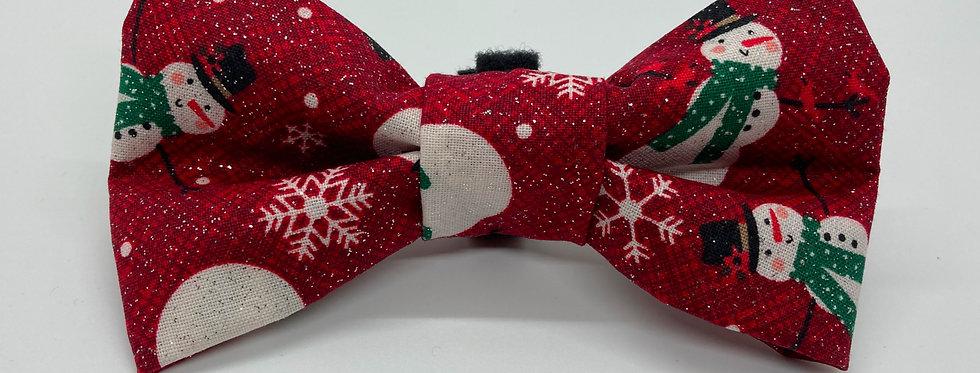 Holiday Sparkly Burgundy Snowman Dog Bow Tie