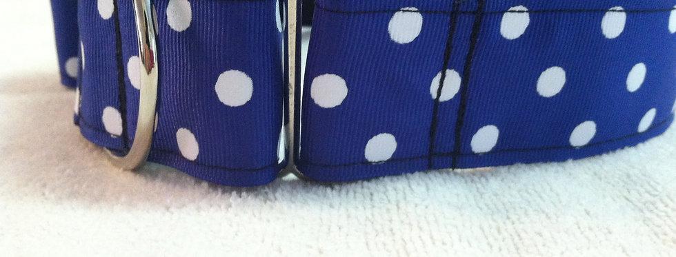 "1 1/2"" Royal Blue Polka Dot Martingale Dog Collar"