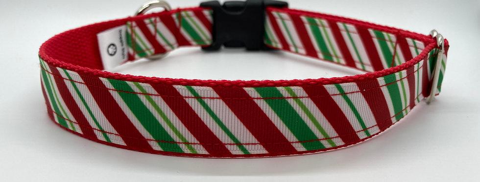 Candy Cane Stripes Christmas Dog Collar