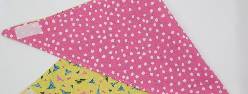 Pink Polka Dots Reversible Dog Bandana