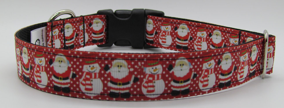 Santa and Snowman Christmas Dog Collar