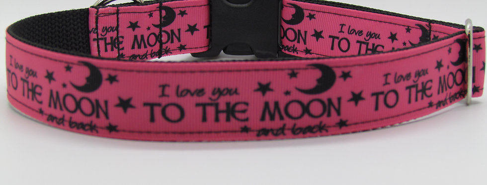 Pink I LOVE YOU TO THE MOON Dog Collar