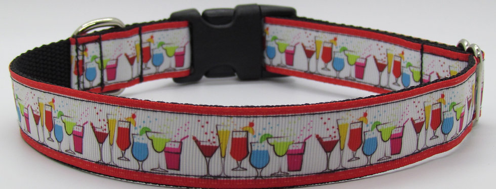 Cocktails (Red) Dog Collar
