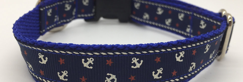 Small Blue Anchors Dog Collar