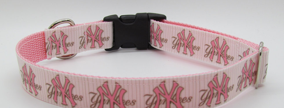 NY Yankees (Striped in Pink) Inspired Dog Collar