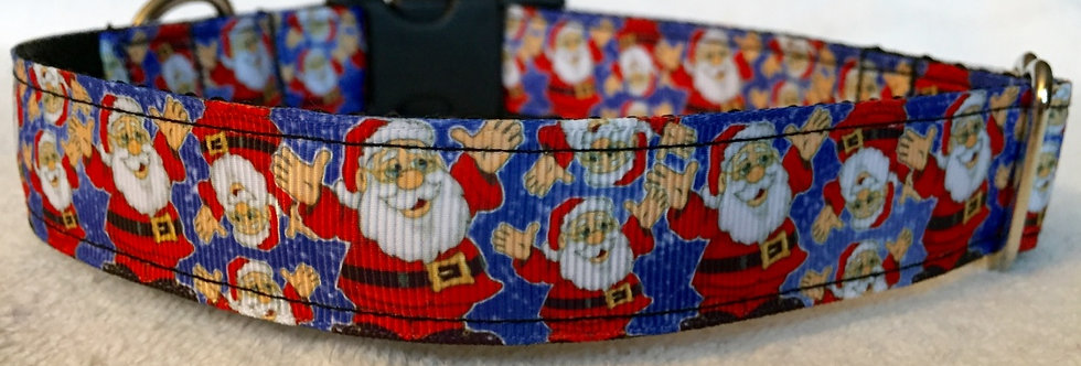 Blue Santa Claus Dog Collar