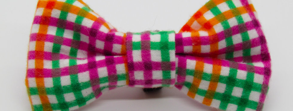 Green, Purple and Orange Plaid Dog Bow Tie