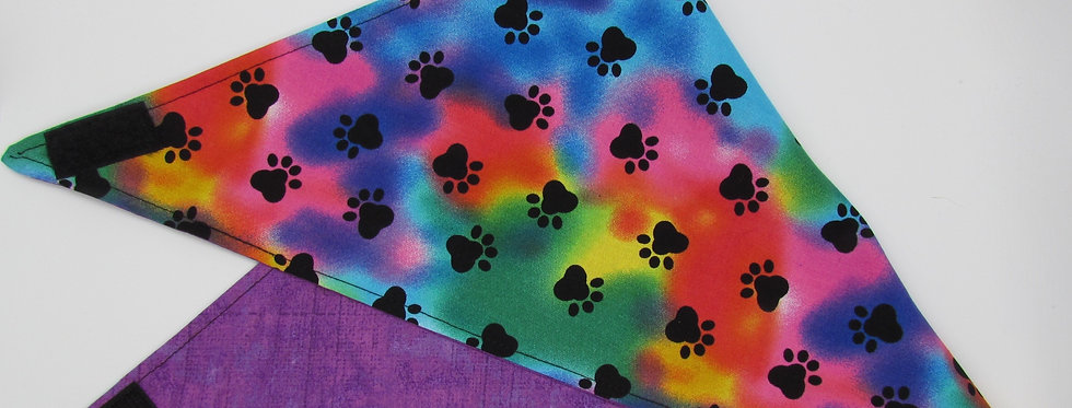 Colorwash Paw Print Reversible Dog Bandana