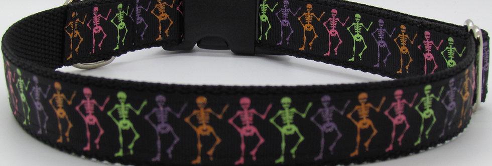 Halloween Sparkly Dancing Skeletons  Dog Collar