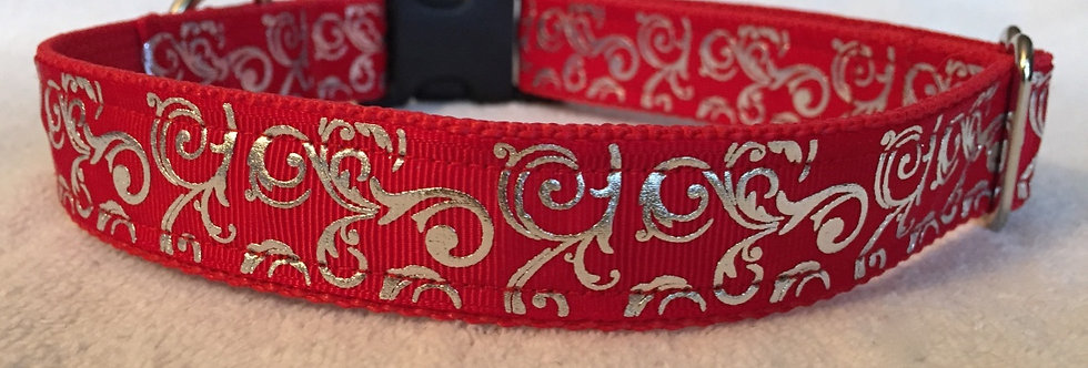 Red Foil Swirls Christmas Holiday Dog Collar