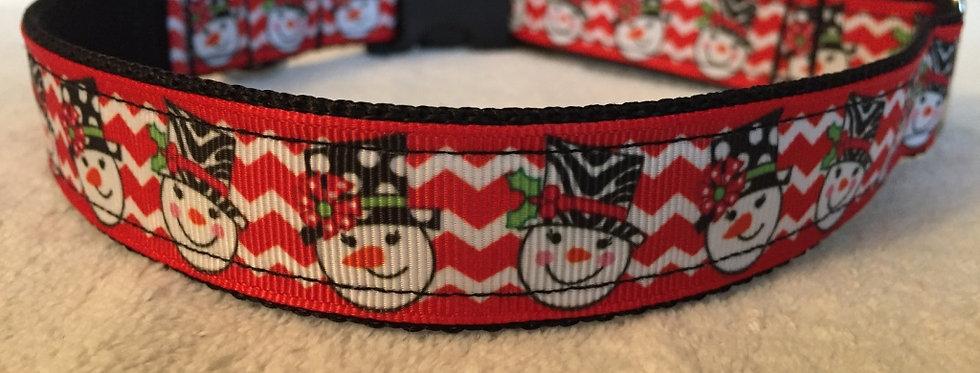 Red Chevron Snowman Dog Collar