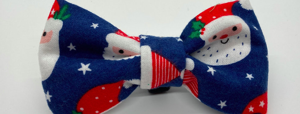 Holiday Santa Claus (Blue) Dog Bow Tie