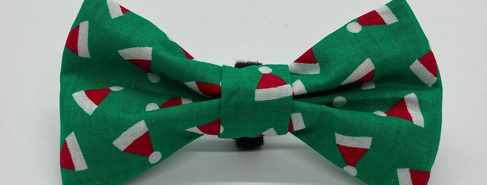 Holiday Santa Hats (Green) Dog Bow Tie