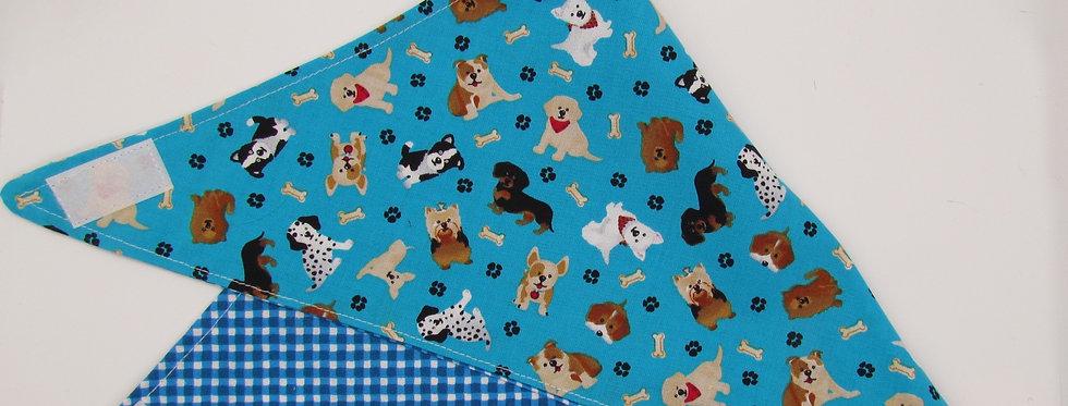 Puppy Print (Blue Checks) Reversible Dog Bandana