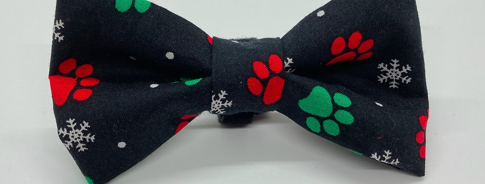 Holiday Black Paw Prints and Snowflakes  Dog Bow Tie