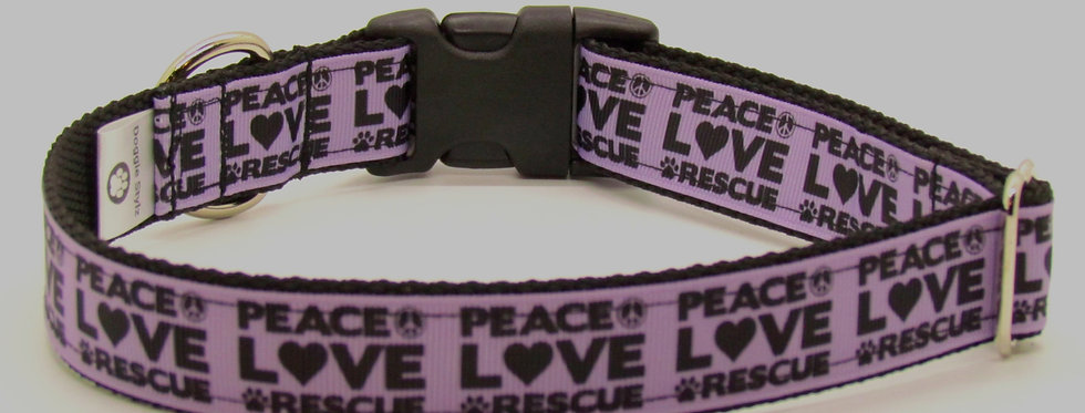 Peace, Love, Rescue (Purple) Dog Collar