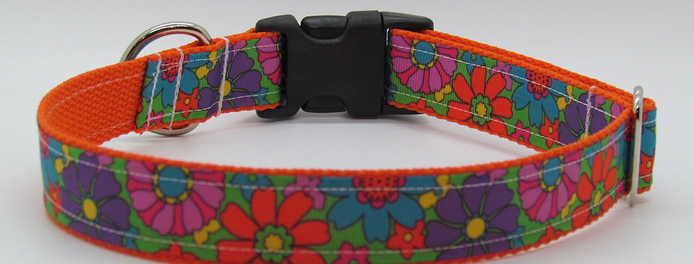 Tropical Flowers Dog Collar