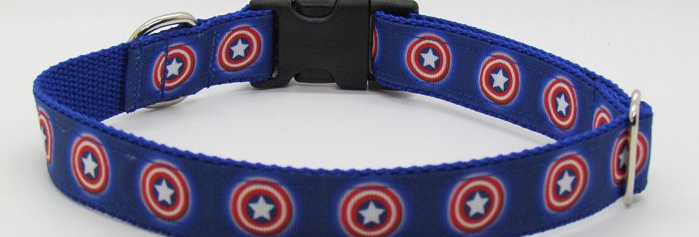 Captain America Inspired Dog Collar