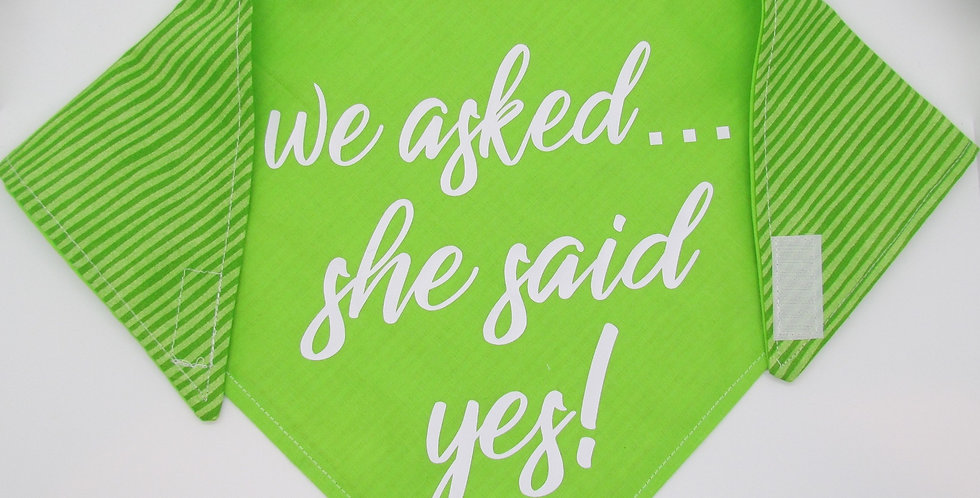 She Said Yes! (Lime Green) Reversible Dog Bandana