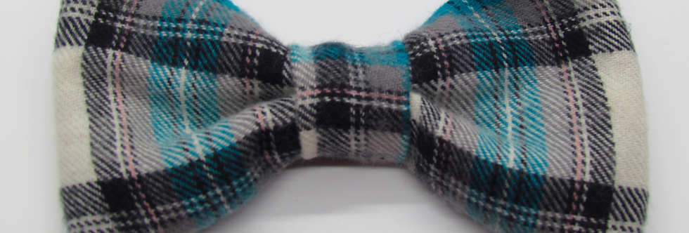 Turquoise Plaid Dog Bow Tie