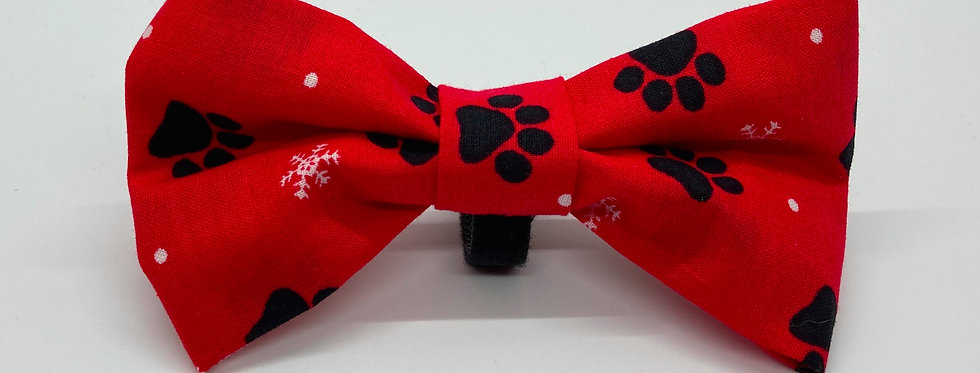 Holiday Red Paws and Snowflakes Dog Bow Tie