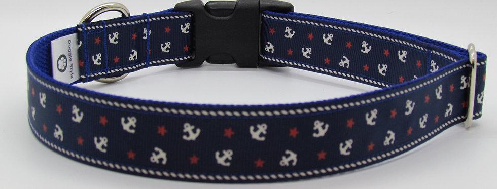 Blue Anchors Dog Collar