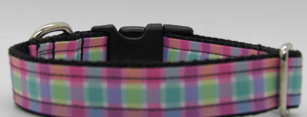 Small Summer Plaid Dog Collar