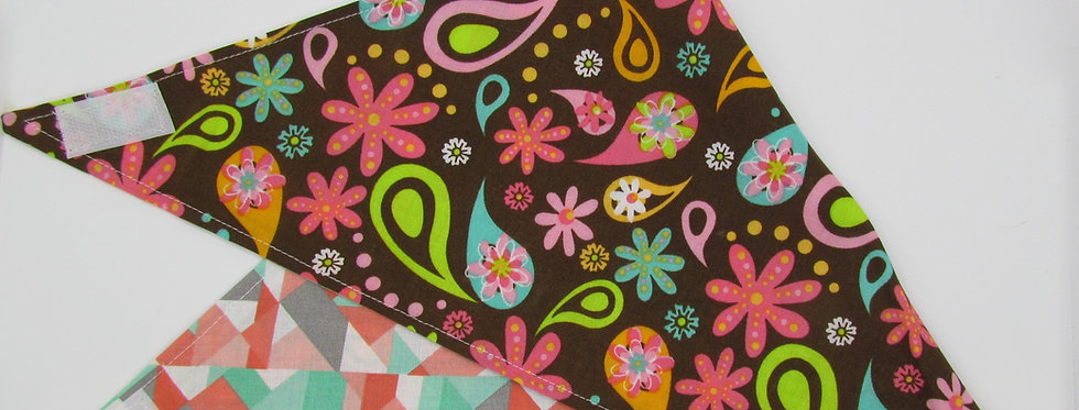 Flowers and Paisley Print Reversible Dog Bandana