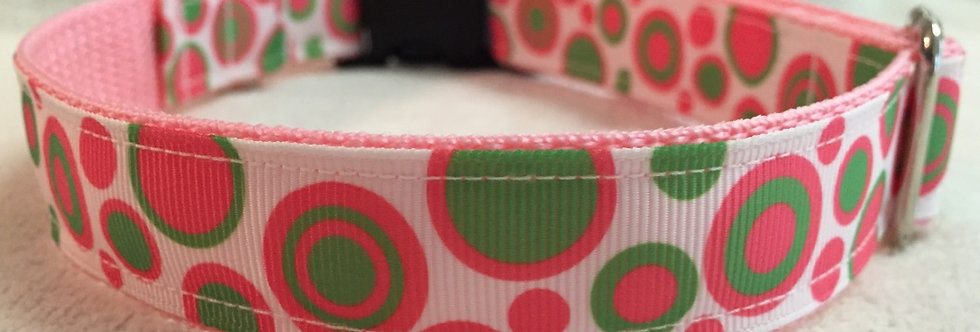 Hot Pink and Lime Green Polka Dot Dog Collar