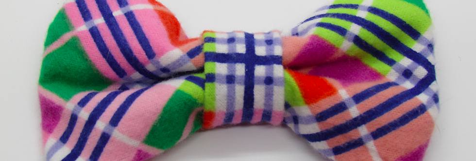 Colorful Plaid Dog Bow Tie