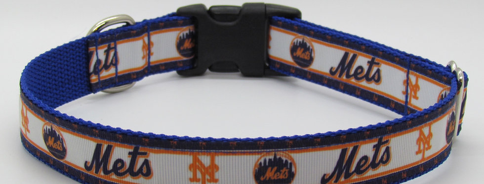 NY Mets (White) Inspired Dog Collar