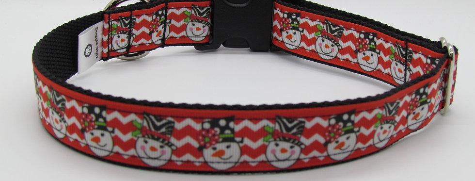 Chevron Snowman Christmas Dog Collar