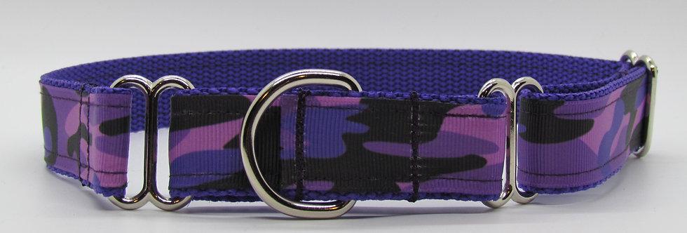 Purple Camouflage Martingale Dog Collar
