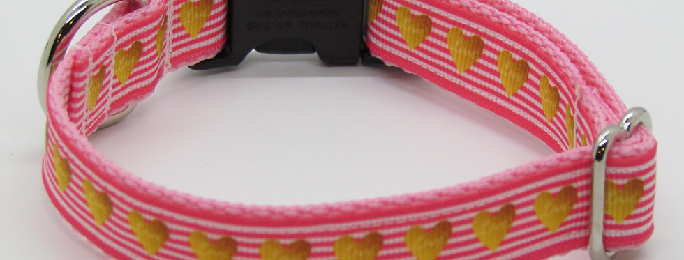 Small Pink and Gold Hearts Dog Collar