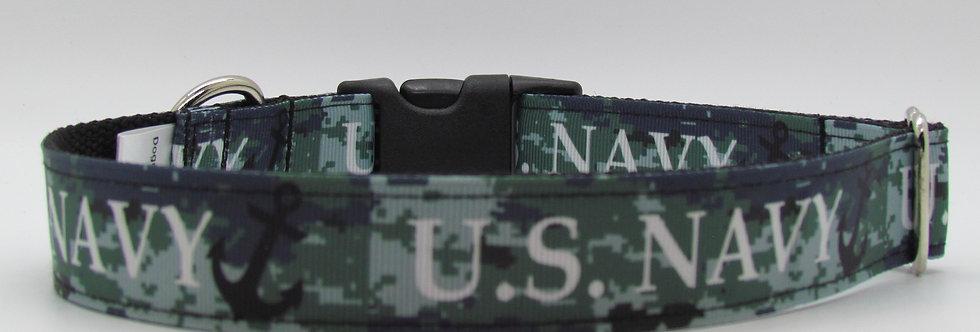 Navy Dog Collar
