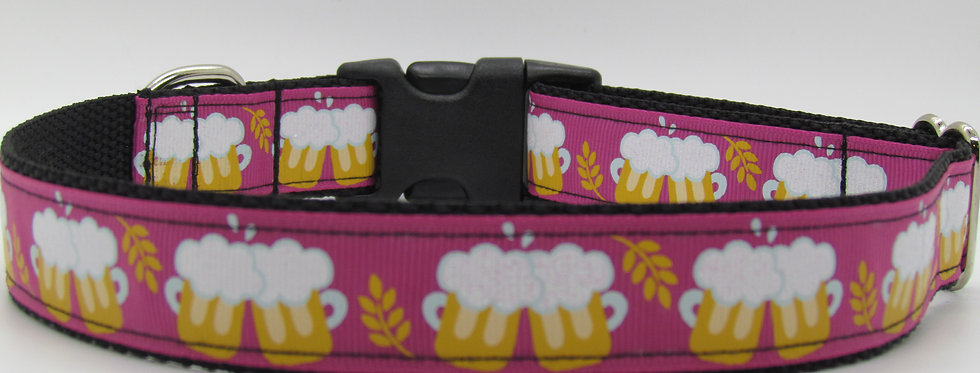 Beer Mugs (Pink) Dog Collar