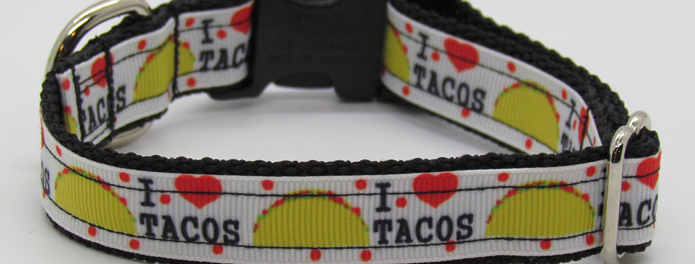 Small I Love Tacos Dog Collar