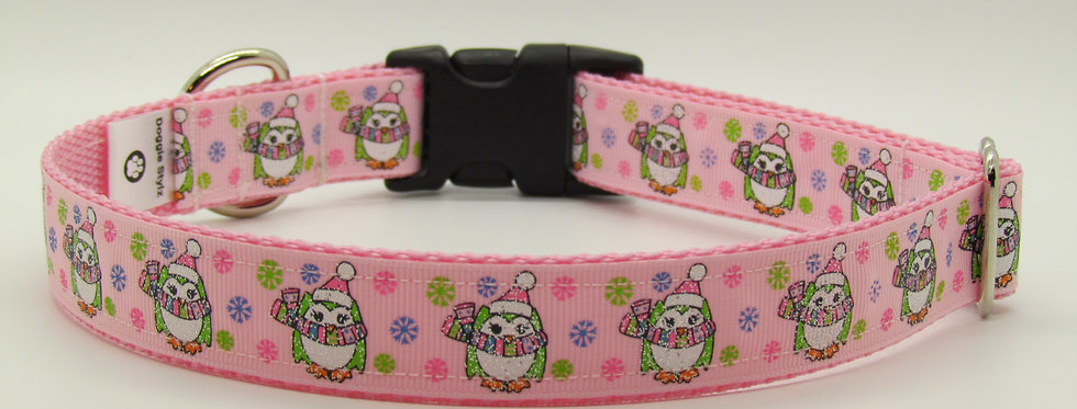 Pink Sparkly Penguins Christmas Dog Collar