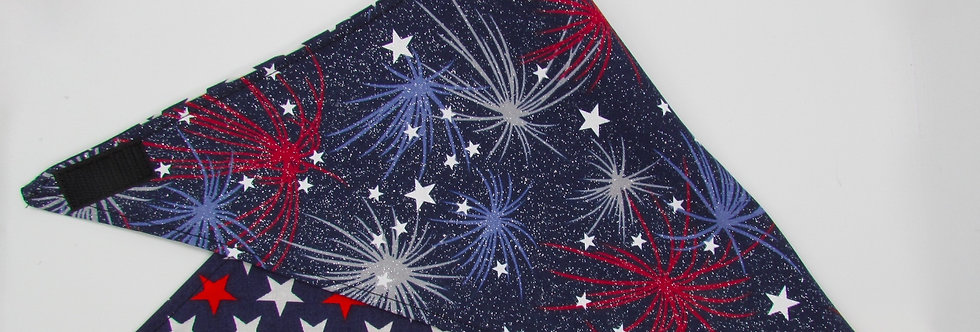 Fireworks Reversible Dog Bandana