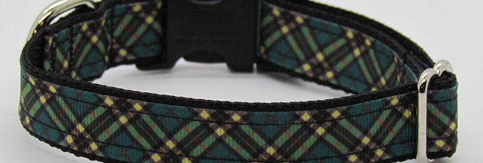 Small Teal Plaid Dog Collar