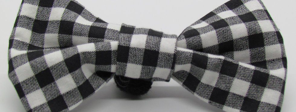 White Lumberjack Buffalo Plaid Dog Bow Tie