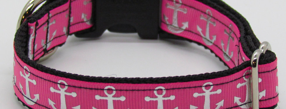 Small Pink and Silver Anchors Dog Collar