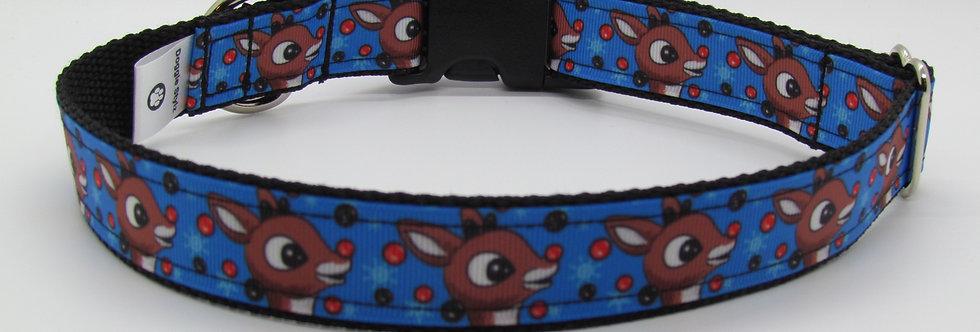 Rudolph (Blue) Christmas Dog Collar