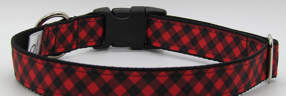 Buffalo Plaid (Red) Dog Collar