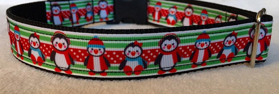 Penguins Christmas Holiday Dog Collar