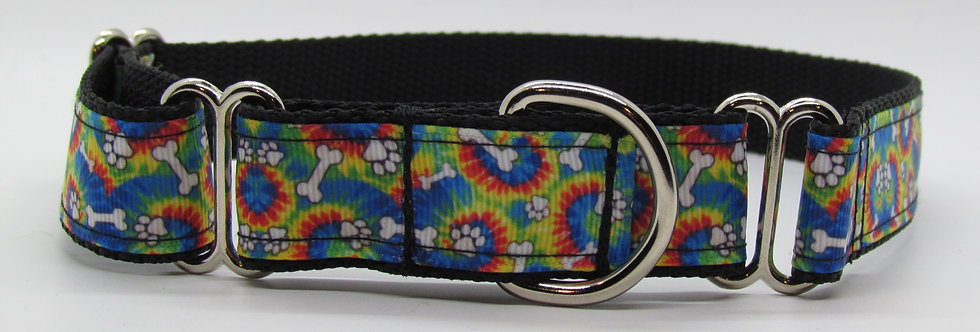 Tie Dye Paws and Bones Martingale Dog Collar
