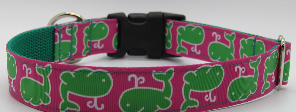 Pink Whales Dog Collar
