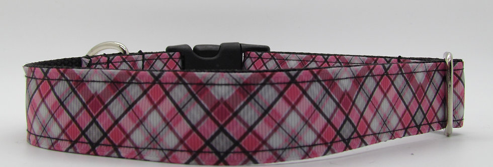 Coral and Gray Plaid Dog Collar
