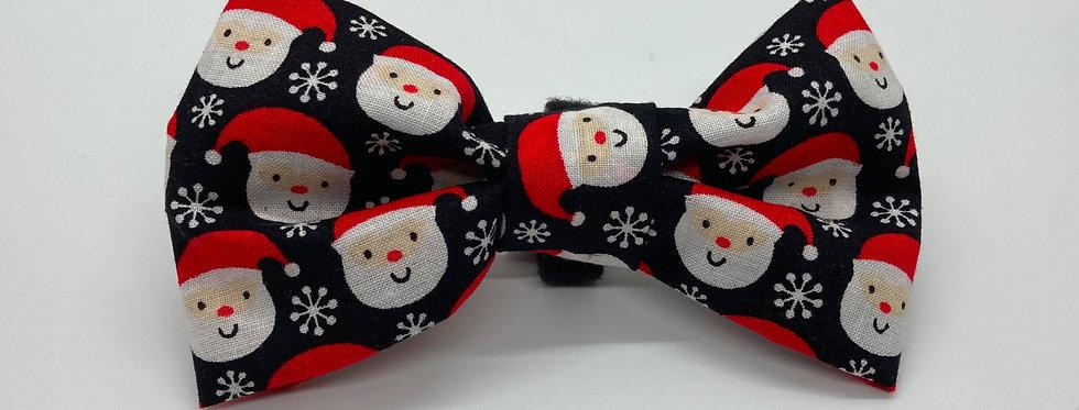 Holiday Santa Claus (Black) Dog Bow Tie