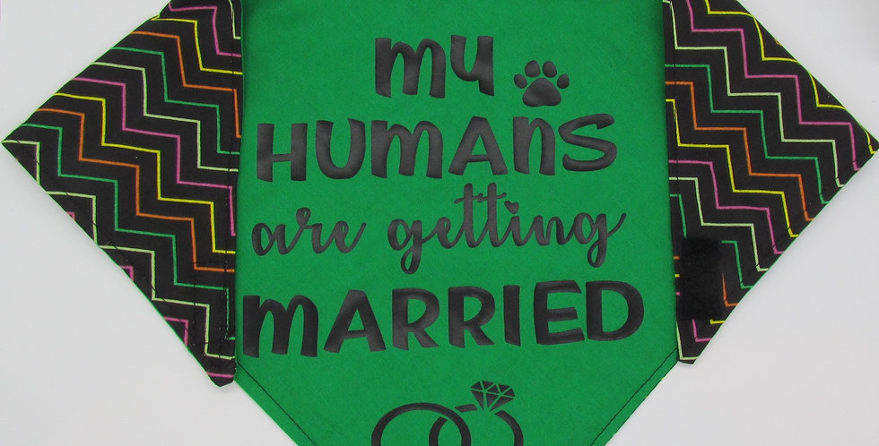 My Humans Are Getting Married (Green) Reversible Dog Bandana